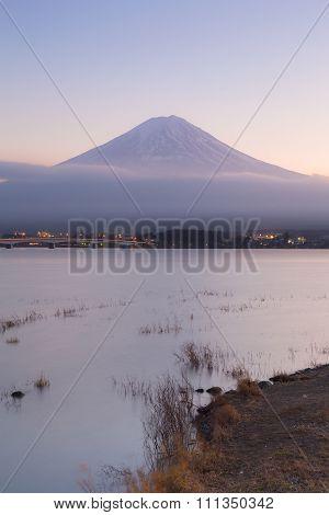 Fuji mountain in background in Kawaguchi Lake, Japan