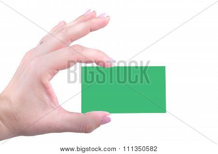 Green Bussiness Card In Women Hand On A White Background