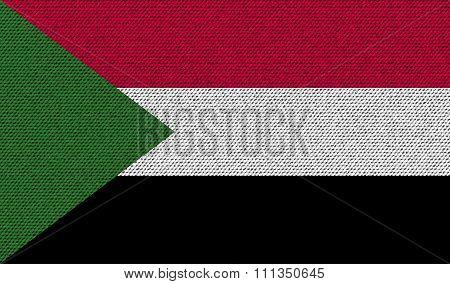 Flags Sudan On Denim Texture.