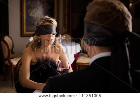 Woman and Man at blind date