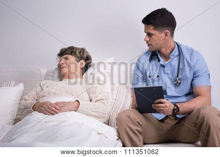 Suffering Geriatric Ward Patient