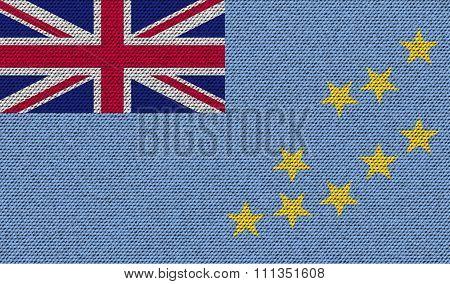 Flags Tuvalu On Denim Texture.