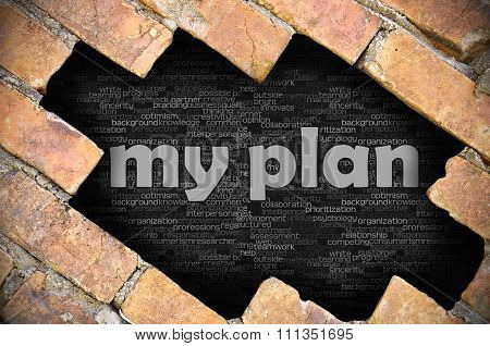 Hole In The Brick Wall With Word My Plan