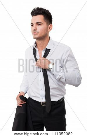 Business Man Loosing His Black Necktie.