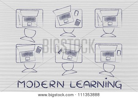 School Desks With Laptops And Text Modern Learning