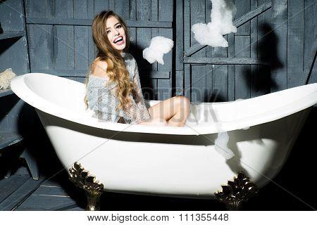 Playful Girl In Bath