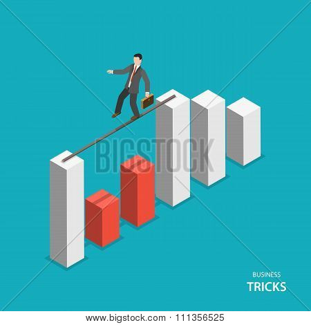 Business tricks isometric flat vector concept.