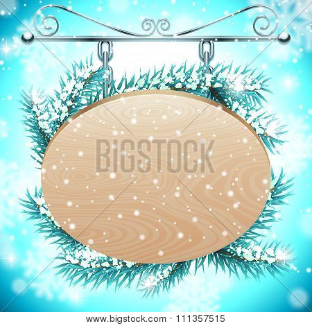 Wood board on Snow Background