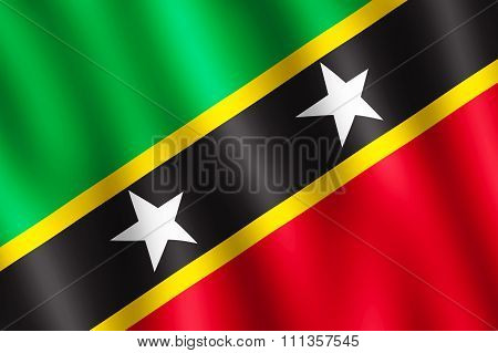 Flag Of Saint Kitts And Nevis Waving In The Wind