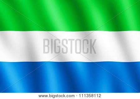 Flag Of Sierra Leone Waving In The Wind