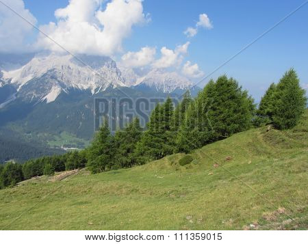 Alpine Landscape Of Sesto Dolomites, South Tyrol, Italy