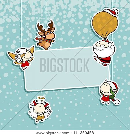 Christmas card with Santa Claus, reindeer, fairies and angel