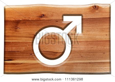 Male symbol cut in wooden board isolated on white. Natural oak wood