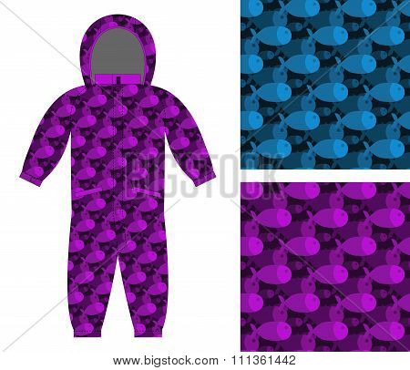 Childrens Apparel Template. Jumpsuit With Pattern Of Fish. 3D Background Of Marine, Ocean Animal. Op