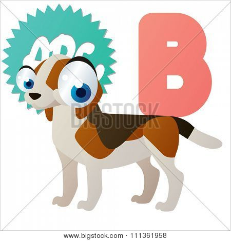 vector amusing dog breed. B is for Beagle