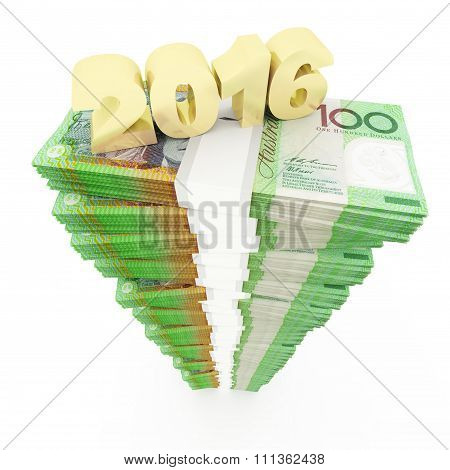 New year 2016 and Australian dollar stack