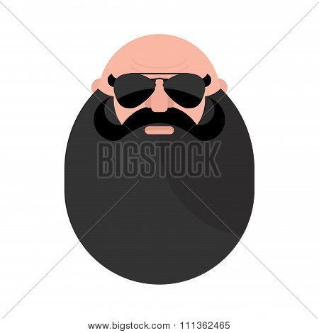 Head Of  Mustachioed Biker With Beard. Brutal Man. Stern Grandfather Wearing