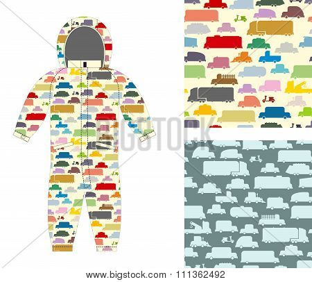 Clothes For Children. Kids Overalls. Texture Of Toy Transport. Set Of Cars Seamless Pattern For Baby
