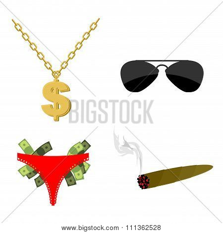 Pimps Set Accessory. Dollar Sign On Chain. Panties Strippers And  Lot Of Money.