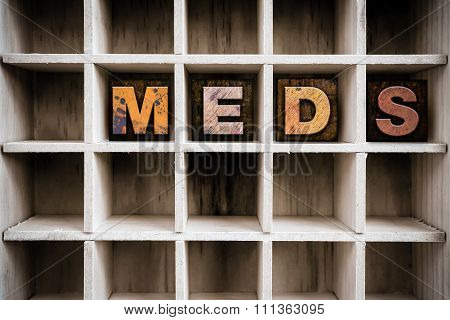 Meds Concept Wooden Letterpress Type In Drawer