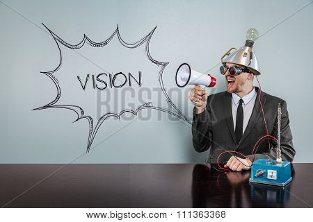 Vision text on speech bubble with vintage businessman