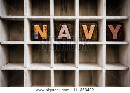 Navy Concept Wooden Letterpress Type In Drawer
