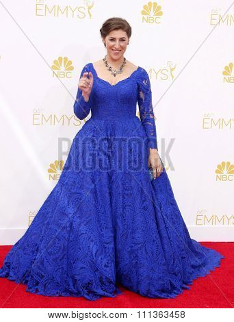 Mayim Bialik at the 66th Annual Primetime Emmy Awards held at the Nokia Theatre L.A. Live in Los Angeles on August 25, 2014.