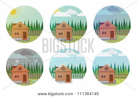 Set Of Weather Icons. Illustration Of The House, Wood And Weathe