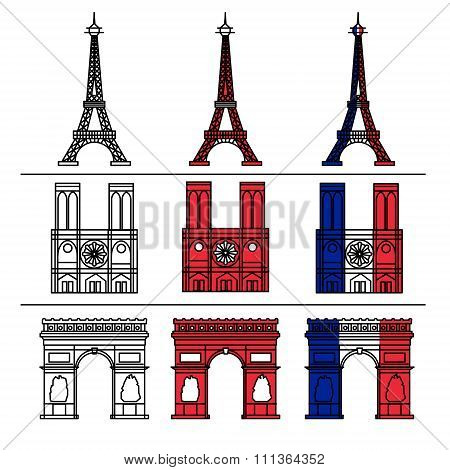 Paris Monuments Set - Eiffel Tower, Notre Dame De Paris, Arc Of Triomphe