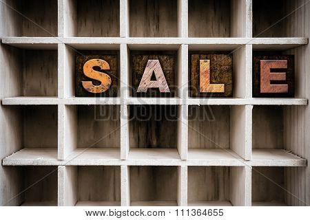 Sale Concept Wooden Letterpress Type In Drawer
