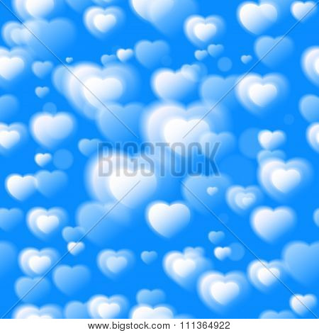 Hearts seamless pattern. Colorful fluffy hearts on sky blue background. Love. Valentine's Day backgr