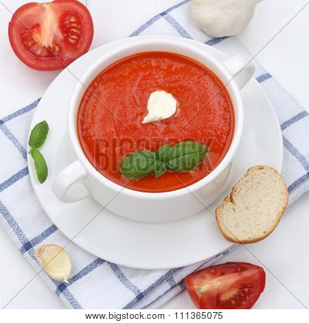 Healthy Eating Tomato Soup With Tomatoes And Baguette In Cup