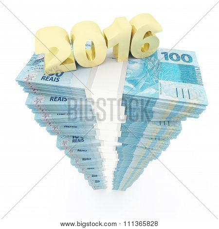 New year 2016 and Brazilian reais stack
