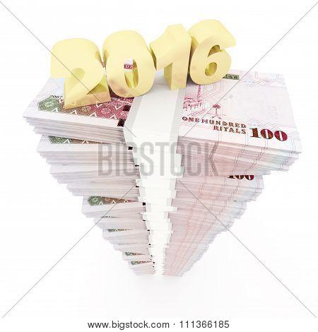 New year 2016 and Saudi riyal stack
