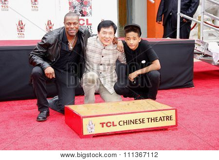 Chris Tucker, Jackie Chan and Jaden Smith at the Jackie Chan Hand & Foot Print Ceremony held at the TCL Chinese Theatre on June 6, 2013 in Los Angeles, California.