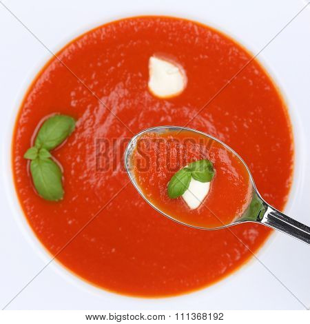 Healthy Eating Tomato Soup Meal With Fresh Tomatoes On Spoon From Above