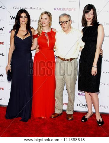 Penelope Cruz, Scarlett Johansson, Woody Allen and Rebecca Hall at the Los Angeles Premiere of