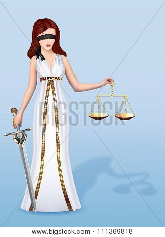 illustration of a woman Femida goddess of justice with scales an