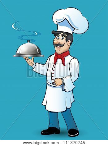 Illustration of funny chef with food in his hand