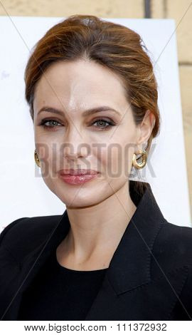 Angelina Jolie at the American Cinematheque's 69th Annual Golden Globe Awards Foreign-Language Nominee Event held at the Egyptian Theater in Los Angeles, California on January 14, 2012.