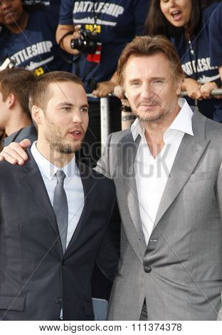Taylor Kitsch and Liam Neeson at the Los Angeles premiere of