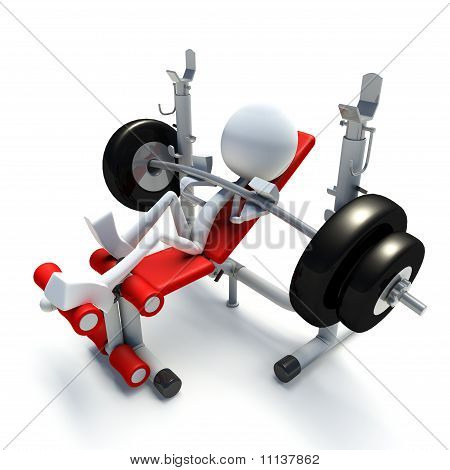 3D Character Bench Pressing