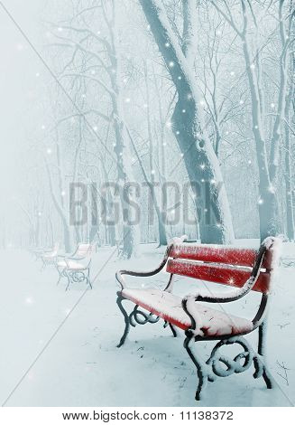 Red Bench In The Snow