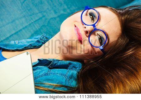 Young Woman Face In Blue Glasses
