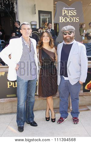 LOS ANGELES, USA - OCTOBER 23: Antonio Banderas, Salma Hayek and Zach Galifianakis at the Los Angeles Premiere of