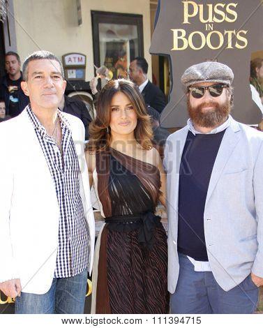 Antonio Banderas, Salma Hayek and Zach Galifianakis at the Los Angeles Premiere of