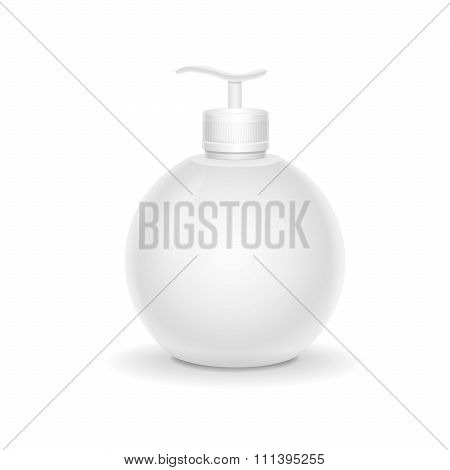 Blank packaging - bottle  with a spray for cream, soap cosmetics.  Vector isolated