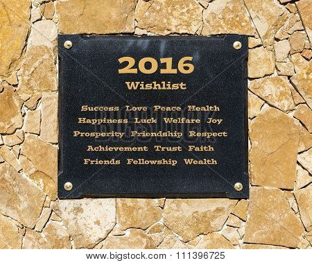 2016 wishlist - black Marble board on a brown stone wall