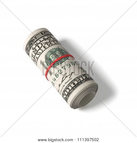 100 Us Dollars Banknotes Rolled Up