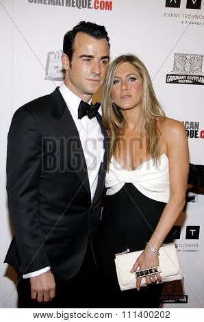 Justin Theroux and Jennifer Aniston at the 26th American Cinematheque Award Honoring Ben Stiller held at the Beverly Hilton Hotel in Los Angeles, California, United States on November 15, 2012.